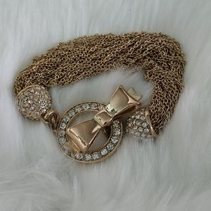 Crystal encrusted Bow toggle Mesh Bracelet